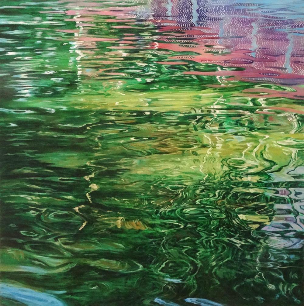 Juan Fernandez Pintor,  Reflejos Aguas Verdes y Rosas