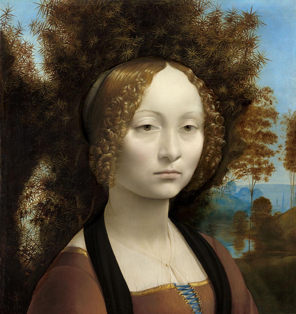 Artistas renacentistas, Leonardo da Vinci: Ginevra de Benci (1474) Galería Nacional de Arte, Washington.