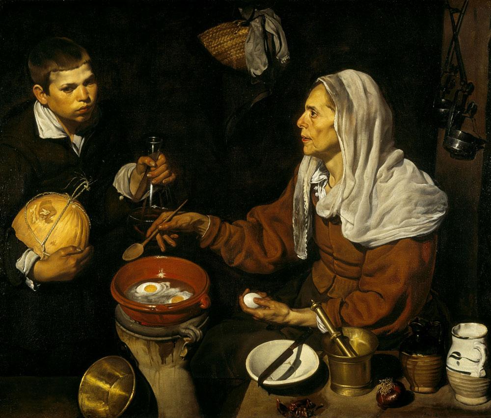 Velázquez el pintor, Vieja friendo huevos (1618), óleo sobre lienzo