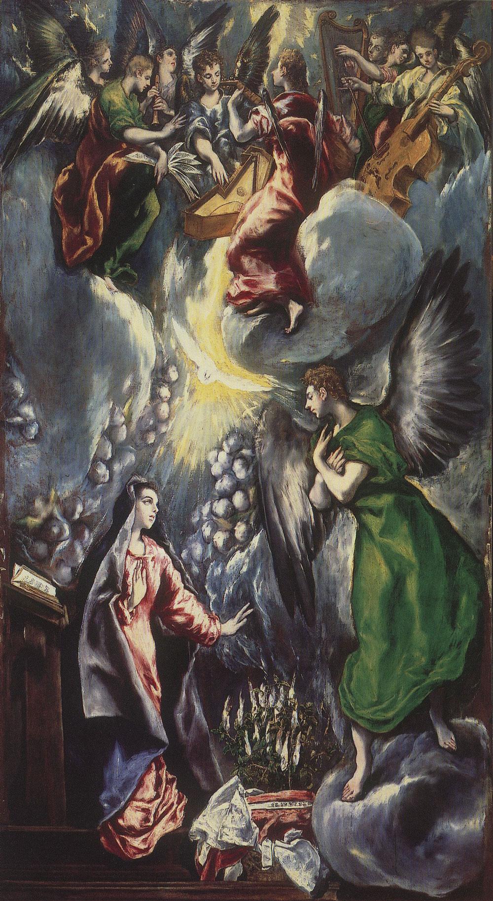 El Greco: La Anunciación (1596 – 1600), óleo sobre lienzo, Museo del Prado, Madrid.