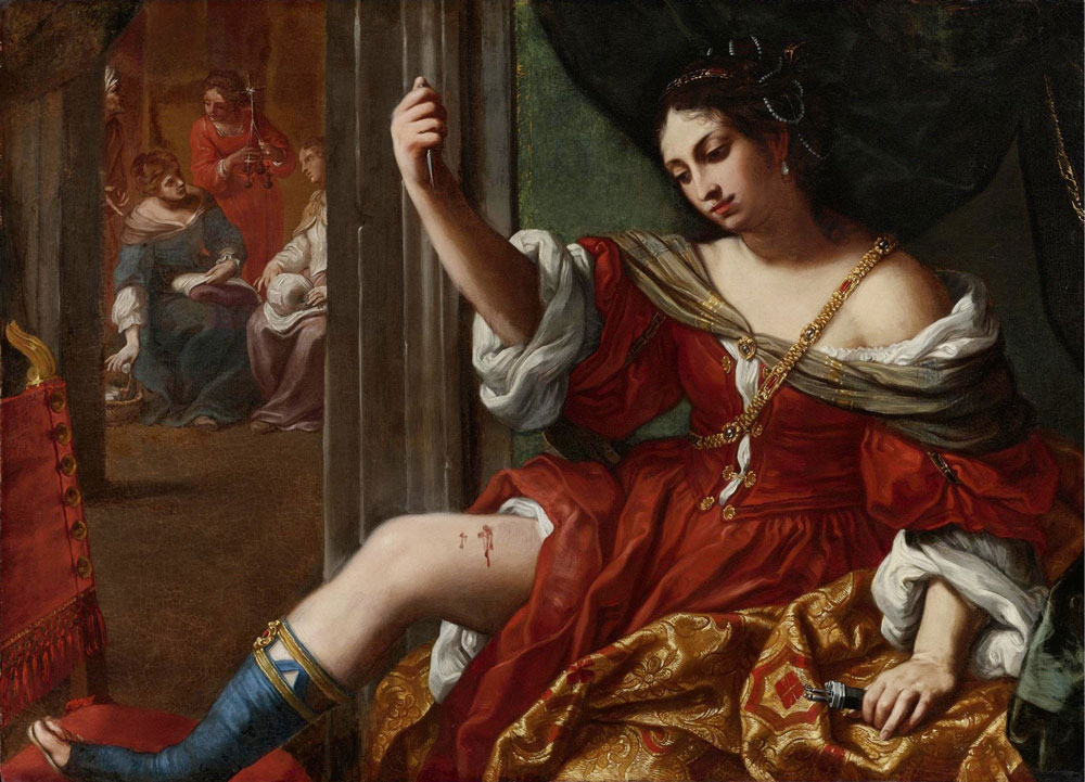 Elisabetta Sirani: Porcia hiriéndose en la pierna (1664) Fondazione Carisbo, Bologna