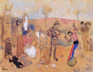 obra family of jugglers de 1905 de su perido rosa