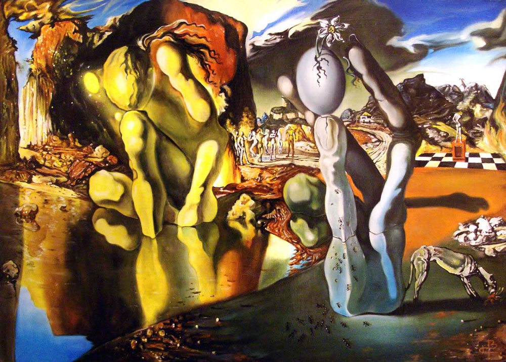 Salvador Dalí: La Metamorfosis de Narciso (1937) óleo sobre lienzo , Tate Modern,Londres.