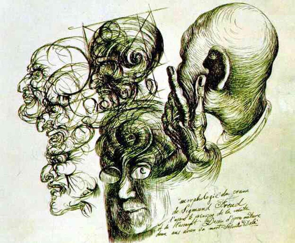 Salvador Dalí: Retrato de Freud (1930), tinta sobre papel, Museo Freud de Maresfield Gardens, Hampstead (U.K.).