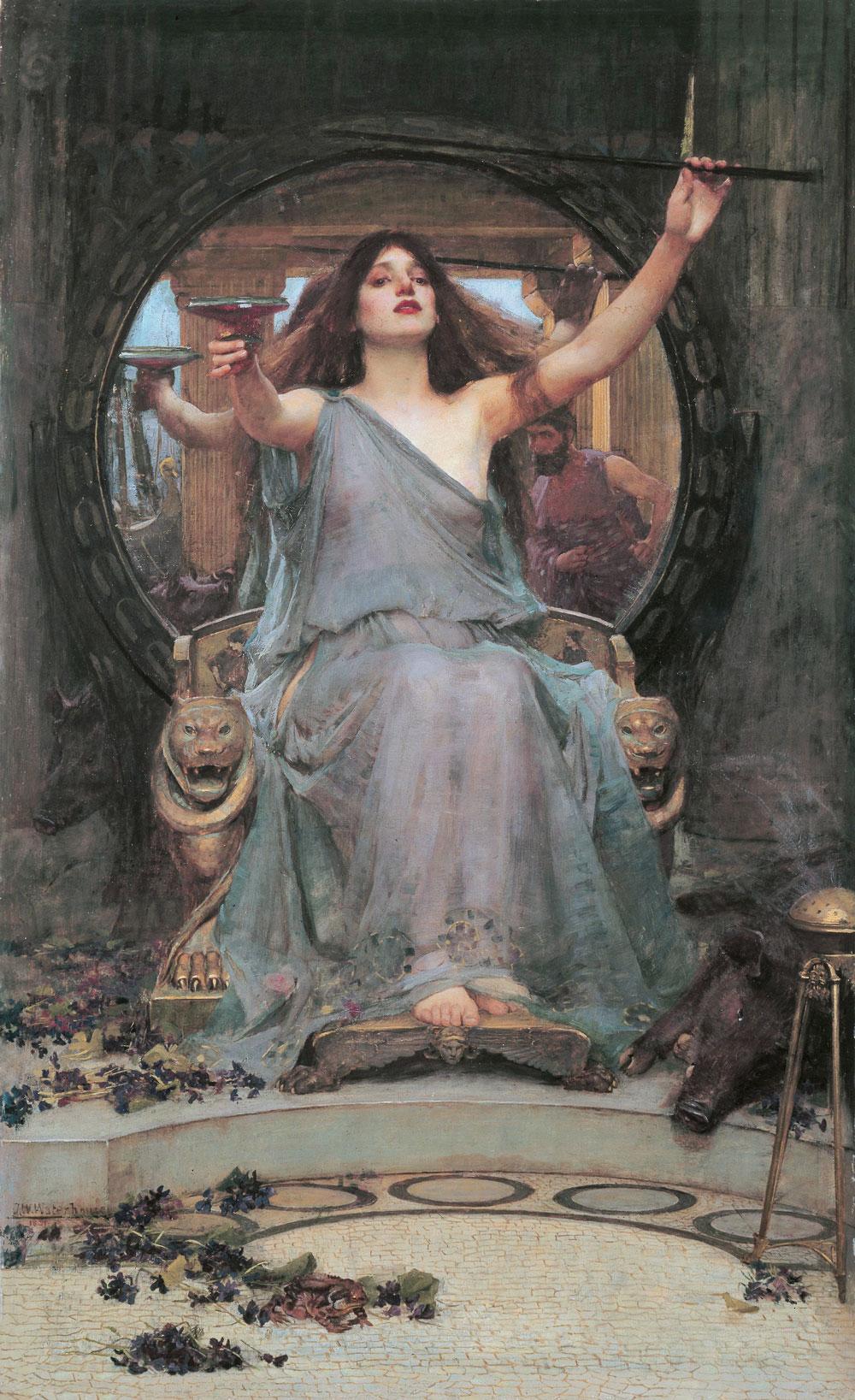 John William Waterhouse: Circe ofreciendo la copa a Odiseo (1891) óleo sobre lienzo, Galería Oldham en Oldham, Reino Unido