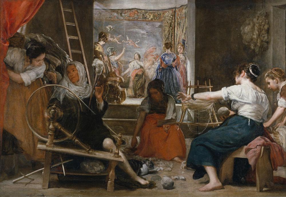 Diego Velázquez: La fábula de Aracne o Las hilanderas (c.1657), óleo sobre lienzo, Museo del Prado, Madrid.