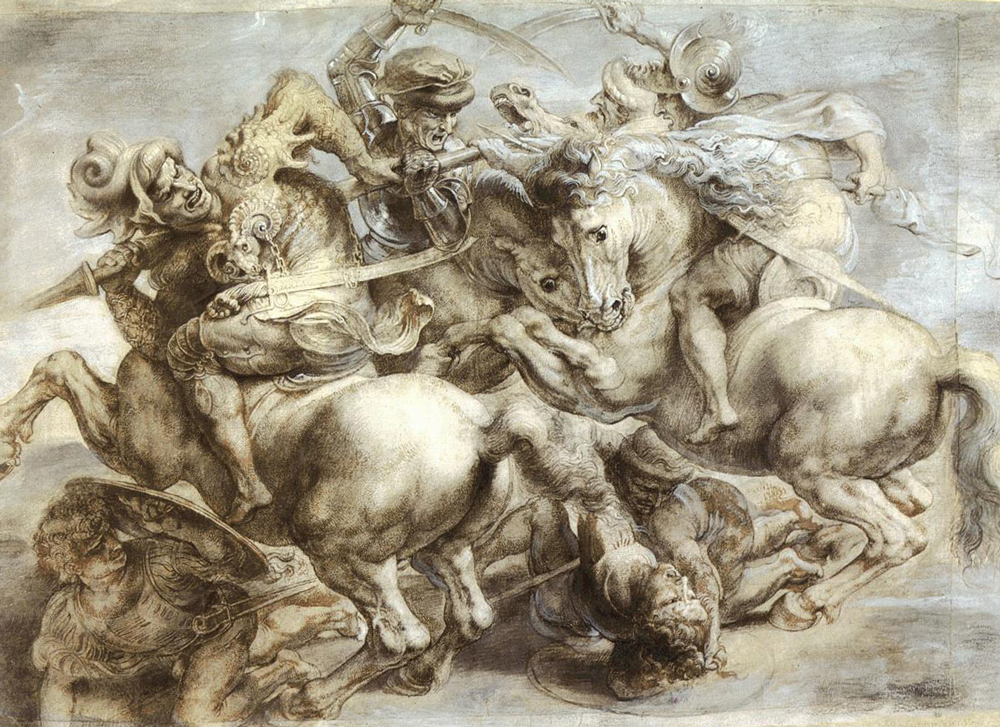 Pedro Pablo Rubens: Copia de La battaglia di Anghiari pintada por Leonardo entre 1503-1506 en un muro del Salón de los Quinientos del Palazzo Vecchio de Florencia, dibujo sobre papel (1603), Museo del Louvre, París.