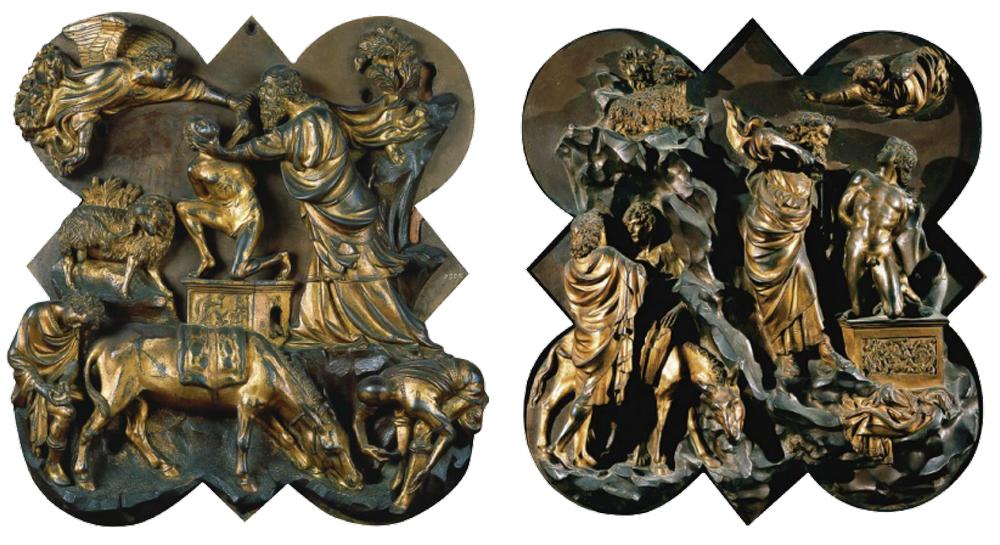 Relieves de bronce de Filippo Brunelleschi (izquierda) y de Lorenzo Ghiberti (derecha) presentados para el Concurso de la segunda puerta del Baptisterio de San Juan (1402-1403), Museo del Bargello, Florencia.