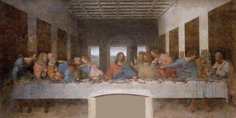 Leonardo da Vinci: La ultima cena (1495-98) temple y óleo sobre yeso, Santa Maria delle Grazie, Milán, Italia.