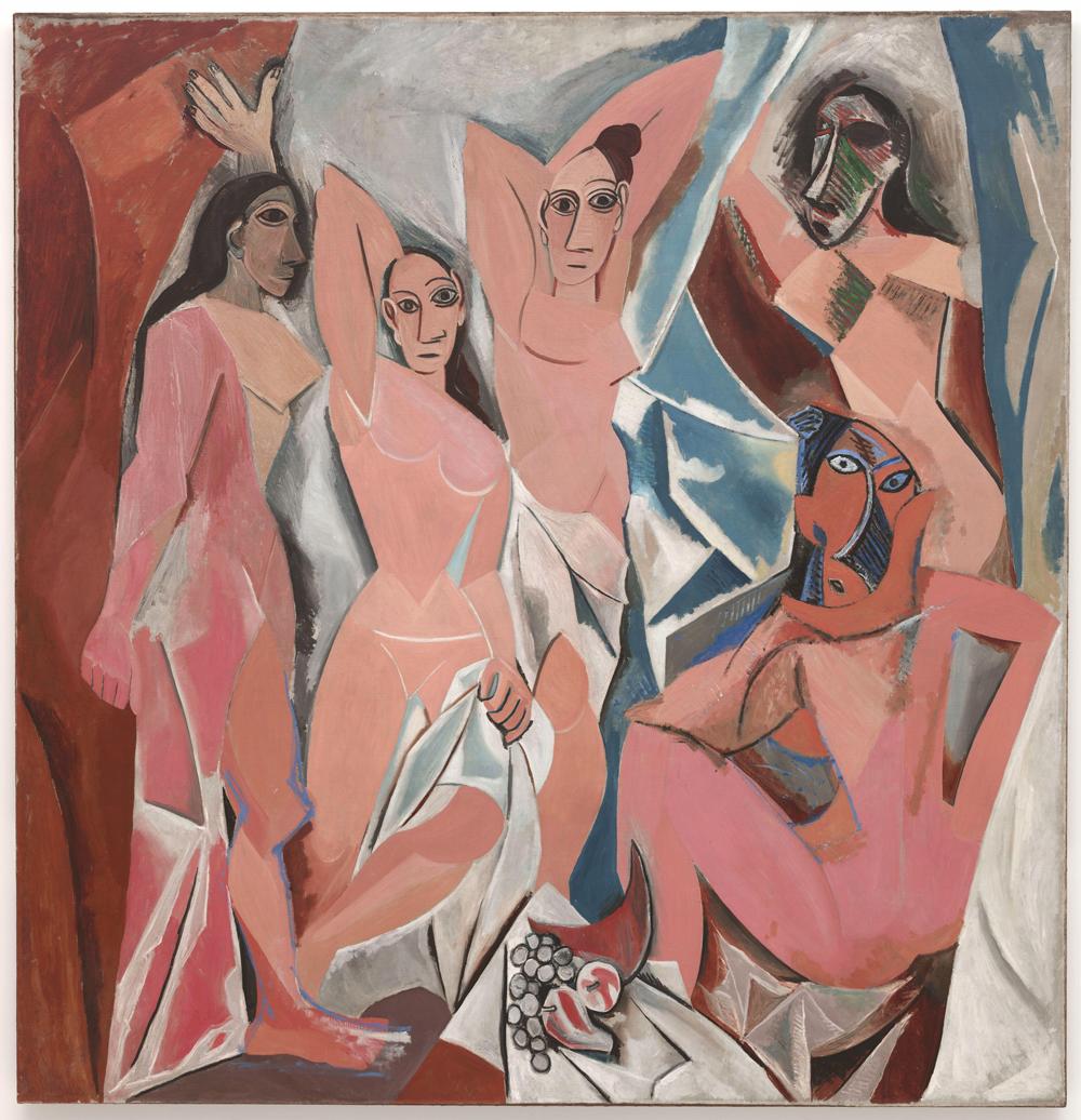 Pablo Picasso: Las señoritas de Avignon (1907) óleo sobre lienzo, Museo de Arte Moderno, Nueva York.