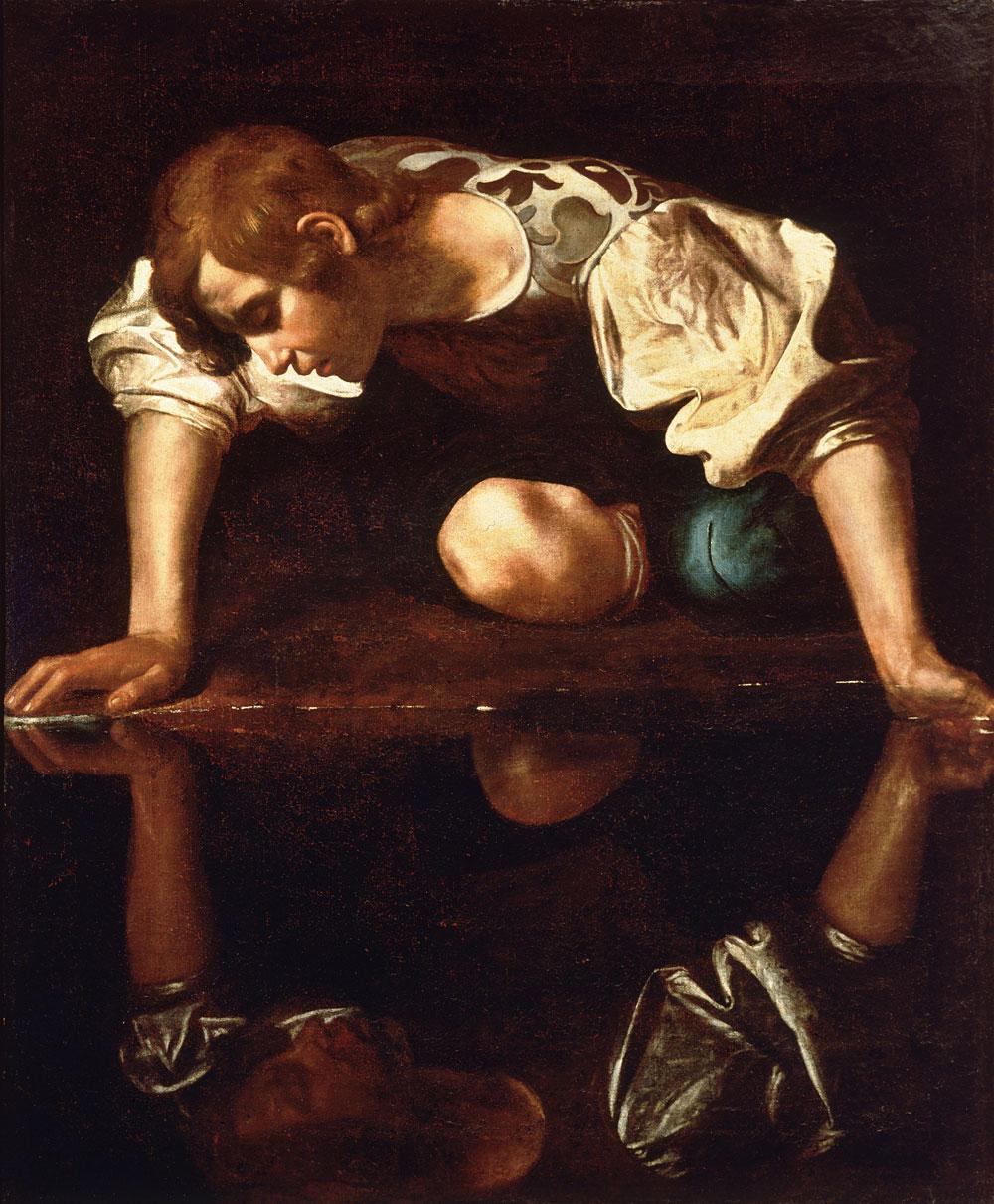 Michelangelo Merisi da Caravaggio: Narciso (1597-99) óleo sobre lienzo, Galería Nacional de Arte Antiguo, Roma.
