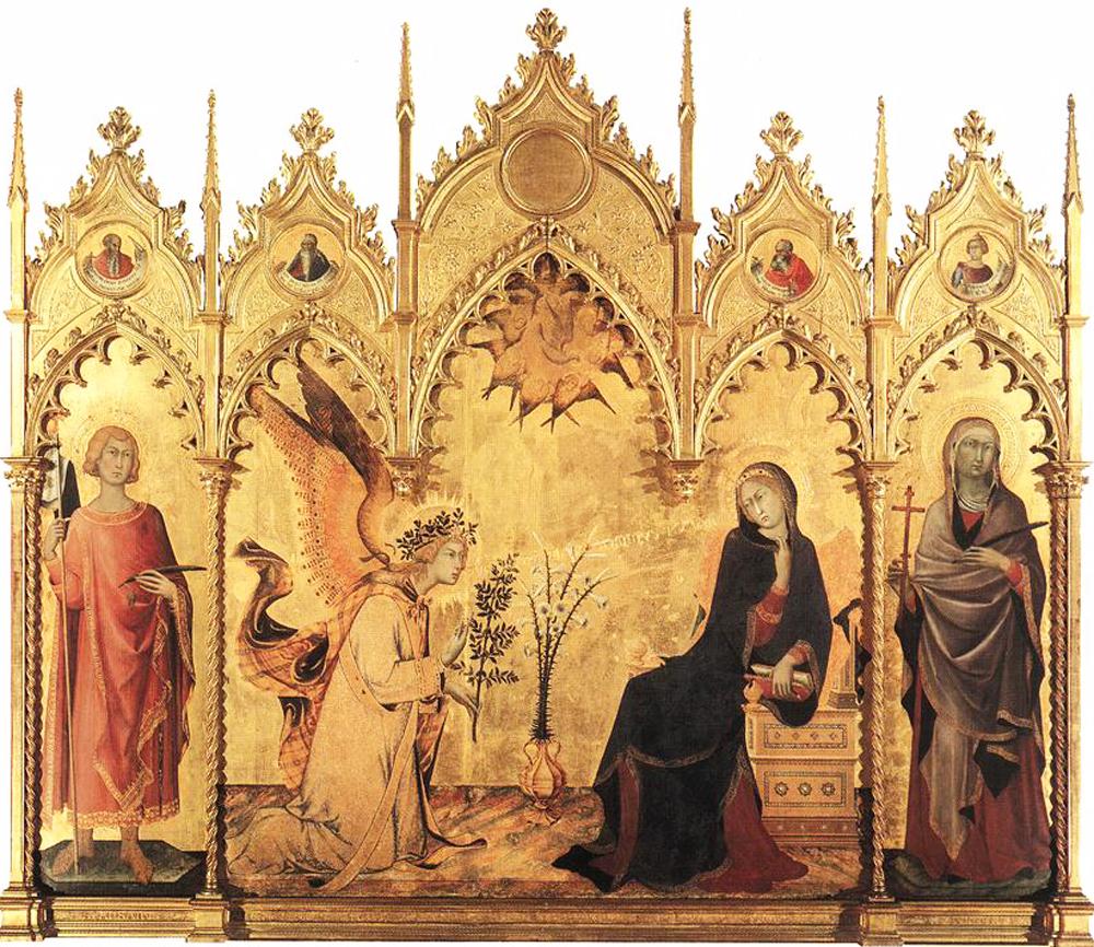Simone Martini: La Anunciación (1333) temple sobre madera, Galleria degli Uffizi, Florencia.