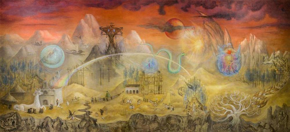 Leonora Carrington: El mundo mágico de los mayas (1984) mural en el Museo Nacional de Antropología de México.